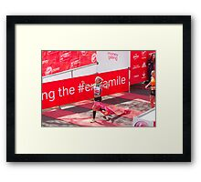 Amy Whitehead crossing the finish line of the London Marathon Framed Print