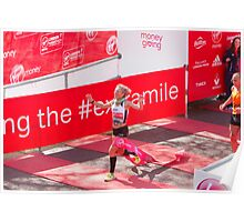Amy Whitehead crossing the finish line of the London Marathon Poster
