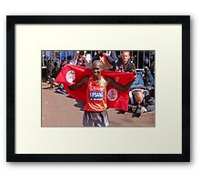 Wilson Kipsang after winning the London Marathon  Framed Print