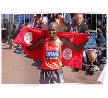 Wilson Kipsang after winning the London Marathon  Poster