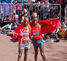 Kipsang & Biwott after winning the London Marathon by Keith Larby