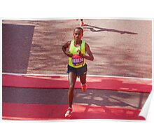 Kebede crosses the finish line of the London Marathon  Poster