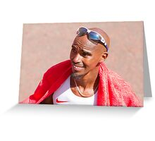 Mo Farah after finishing the London Marathon 2014 Greeting Card