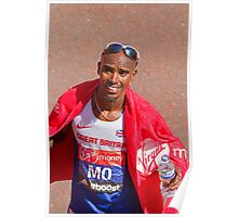 Mo Farah after finishing the London Marathon 2014 Poster