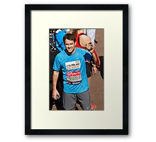 Michael Owen with his London Marathon medal Framed Print