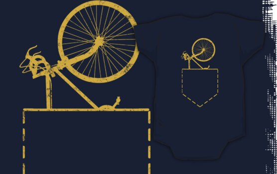 Bicycle In Pocket On Back of Shirt by SportsT-Shirts