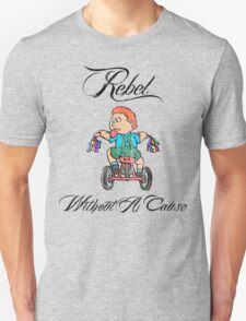 Funny Kid on Tricycle Rebel Unisex T-Shirt