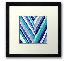 Palisade 2 - Blue Chevron Geometric Abstract Framed Print