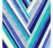 Palisade 2 - Blue Chevron Geometric Abstract Photographic Print