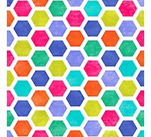 Hexagon 2 - Vibrant Colored Geometric Pattern Photographic Print