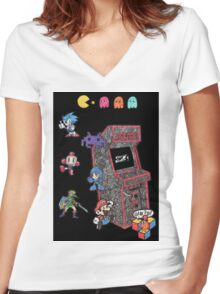 Arcade Game Booth /w background Women's Fitted V-Neck T-Shirt