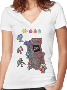 Arcade Game Booth /without background Women's Fitted V-Neck T-Shirt
