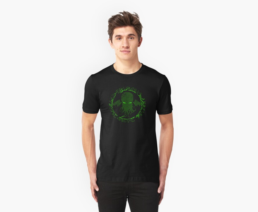 In his house at R'lyeh dead Cthulhu waits dreaming GREEN by RileyRiot
