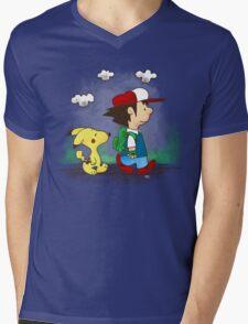 Pokemon Peanuts Mens V-Neck T-Shirt