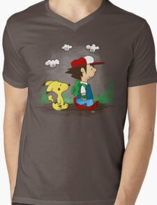 Pokemon Peanuts Mens V-Neck T-Shirt