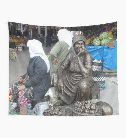 Mugla Market Traders and Honorory Statues Wall Tapestry