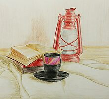 Still life with red oil lamp by Solotry