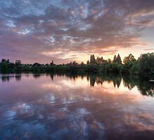 Purple on Green Lake by ektphotography