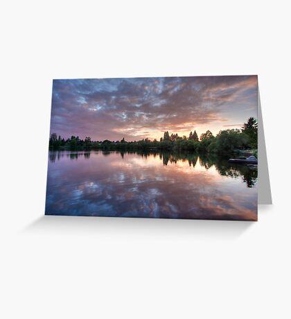 Purple on Green Lake Greeting Card