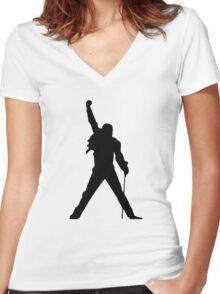 Freddie Mercury Women's Fitted V-Neck T-Shirt