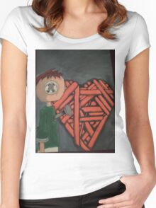knitted heart Women's Fitted Scoop T-Shirt