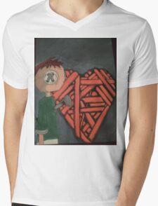 knitted heart Mens V-Neck T-Shirt
