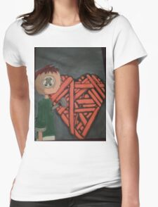 knitted heart Womens Fitted T-Shirt