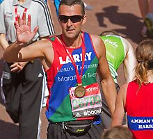 Paul Grayson with his London Marathon medal by Keith Larby