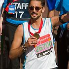 Hugo Taylor with his London Marathon medal by Keith Larby
