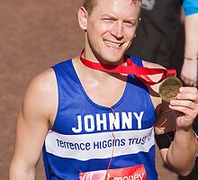 Johnny Shaw with his London Marathon medal by Keith Larby