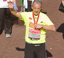 Ray Macallan with his London Marathon medal by Keith Larby