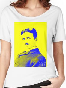Nikola Tesla [Yellow Blue] | Wighte.com Women's Relaxed Fit T-Shirt