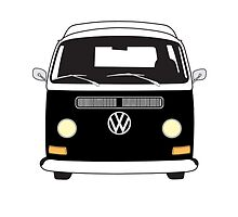 Early Bay VW Camper Front Black by splashgti