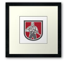 Soldier Serviceman With Assault Rifle Shield Framed Print