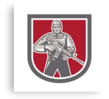 Soldier Serviceman With Assault Rifle Shield Canvas Print