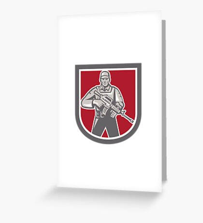 Soldier Serviceman With Assault Rifle Shield Greeting Card