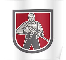 Soldier Serviceman With Assault Rifle Shield Poster