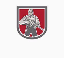 Soldier Serviceman With Assault Rifle Shield Unisex T-Shirt