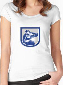 Welder Welding Torch Front Shield Retro  Women's Fitted Scoop T-Shirt