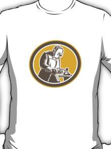 Welder Welding Side Woodcut Oval Retro  T-Shirt