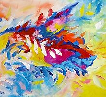 Cat Panther Painting Abstract Art Bright Colors by Ekaterina Chernova by Ekaterina Chernova