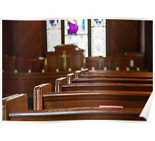 Church Pews with Stained Glass Beyond Pulpit Poster