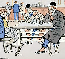 Jockey and trainers in the bar by Bridgeman Art Library