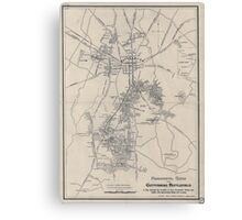 Civil War Maps 1172 Monumental guide to the Gettysburg battlefield A map showing the location of every monument marker and tablet with approaching roads and avenues Canvas Print