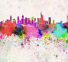 Frankfurt skyline in watercolor background by Pablo Romero