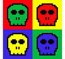 4 Color Retro 8-bit Skulls Photographic Print