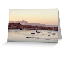 View on calm bay with yachts and boats Greeting Card