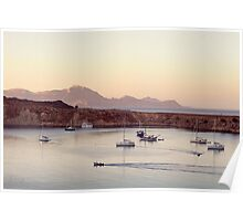 View on calm bay with yachts and boats Poster