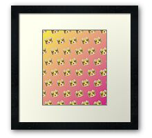 Crown Emoji Pattern Pink and Yellow Framed Print