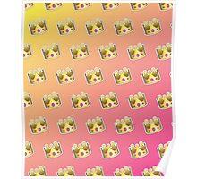 Crown Emoji Pattern Pink and Yellow Poster